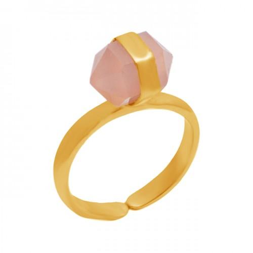 925 Sterling Silver Pencil Shape Rose Quartz Gemstone Gold Plated Adjustable Ring