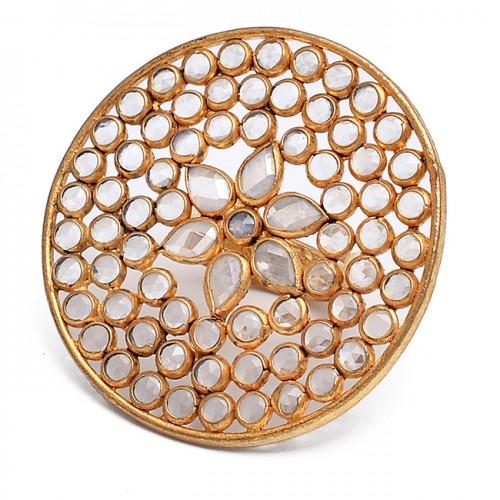 Crystal Quartz Gemstone 925 Sterling Silver Jewelry Gold Plated Designer Ring