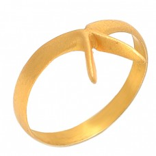925 Sterling Silver Plain Handmade Designer Gold Plated Jewelry Ring