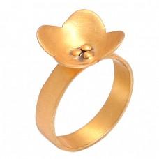 Flower Designer Shape Plain Handmade Designer 925 Silver Gold Plated Ring
