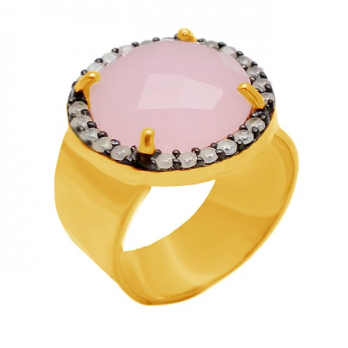 Pave CZ Rose Quartz Round Shape Gemstone Handcrafted 925 Sterling Silver Gold Plated Jewelry Ring