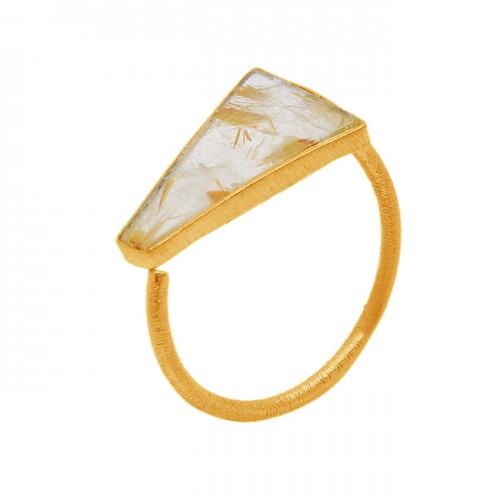 Golden Rutile Quartz Fancy Shape Gemstone 925 Sterling Silver Gold Plated Ring