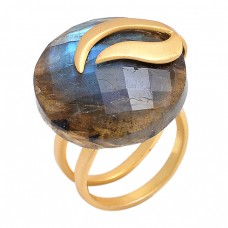 Round Shape Labradorite Gemstone 925 Sterling Silver Gold Plated Jewelry Ring