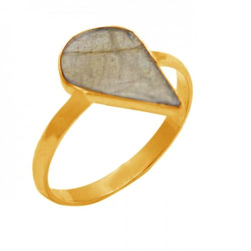 Labradorite Fancy Shape Gemstone 925 Sterling Silver Gold Plated Ring Jewelry
