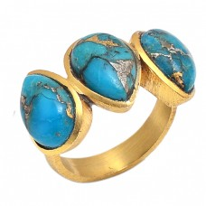 Pear Shape Blue Copper Turquoise Gemstone 925 Sterling Silver Gold Plated Ring