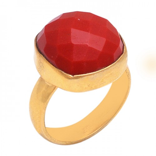 Round Shape Red Onyx Gemstone 925 Sterling Silver Gold Plated Ring Jewelry