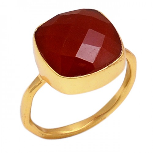 925 Sterling Silver Red Onyx Gemstone Handmade Gold Plated Ring Jewelry