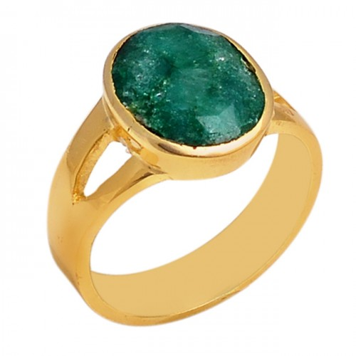 Oval Shape Emerald Gemstone 925 Sterling Silver Jewelry Gold Plated Ring