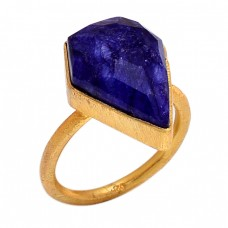 Fancy Shape Sapphire Gemstone 925 Sterling Silver Gold Plated Ring Jewelry