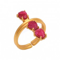 Prong Setting Ruby Gemstone 925 Sterling Silver Gold Plated Jewelry Ring