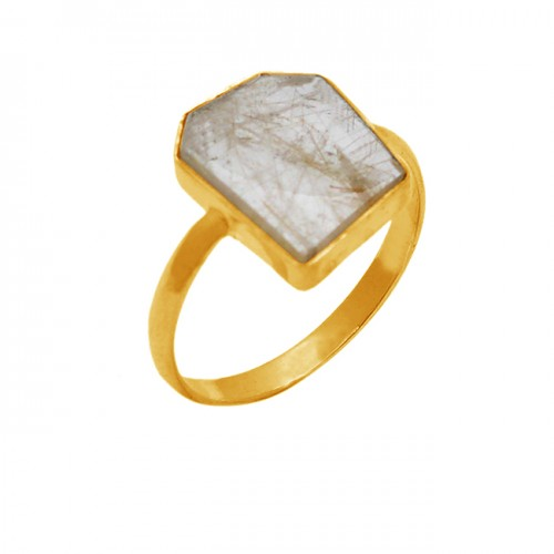 925 Sterling Silver Golden Rutile Quartz Fancy Shape Gemstone Gold Plated Ring