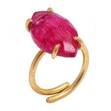 Marquise Shape Ruby Gemstone 925 Sterling Silver Gold Plated Prong Setting Ring