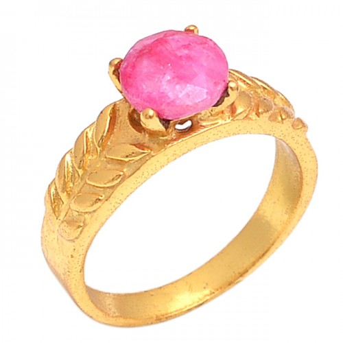 Faceted Round Shape Ruby Gemstone 925 Sterling Silver Gold Plated Ring Jewelry