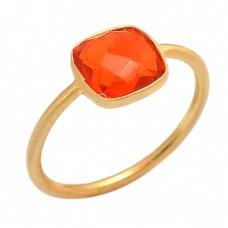 Cushion Shape Fanta Quartz Gemstone 925 Sterling Silver Gold Plated Ring Jewelry