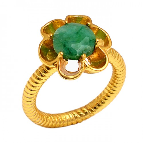 Round Shape Emerald Gemstone 925 Sterling Silver Jewelry Wholesale Ring