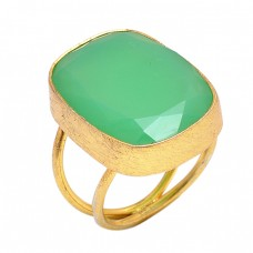 Prehnite Chalcedony Gemstone 925 Sterling Silver Jewelry Handmade Ring