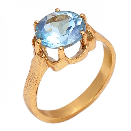 Round Shape Blue Topaz Gemstone 925 Sterling Silver Gold Plated Designer Ring