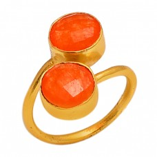 Faceted Round Carnelian Gemstone 925 Sterling Silver Gold Plated Jewelry Ring
