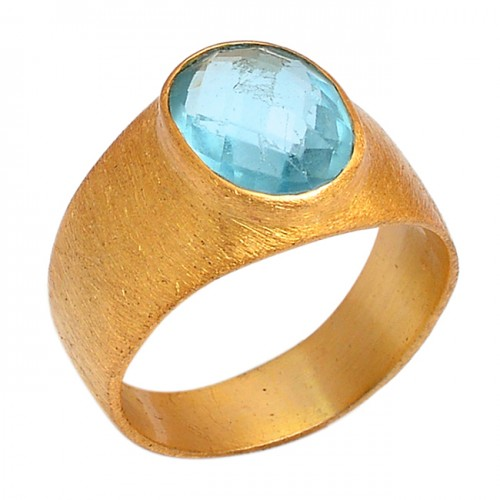 Oval Shape Blue Topaz Gemstone 925 Sterling Silver Gold Plated Jewelry Ring