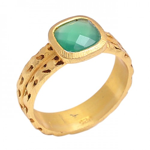 Cushion Shape Green Onyx Gemstone 925 Sterling Silver Gold Plated Jewelry Ring