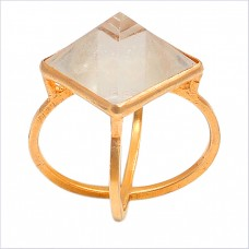 Pyramid Square Shape Crystal Quartz Gemstone 925 Silver Gold Plated Ring Jewelry