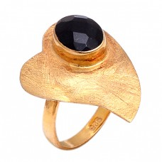 Oval Shape Black Onyx Gemstone 925 Sterling Silver Gold Plated Ring Jewelry