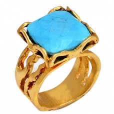 Square Shape Turquoise Gemstone 925 Sterling Silver Gold Plated Ring Jewelry