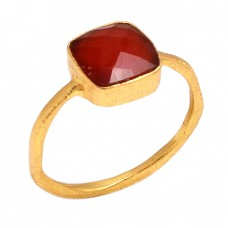 Sqaure Shape Red Onyx Gemstone 925 Sterling Silver Gold Plated Ring Jewelry