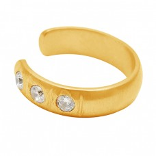925 Sterling Silver Round Shape Cubic Zirconia Gemstone Gold Plated Adjustable Ring