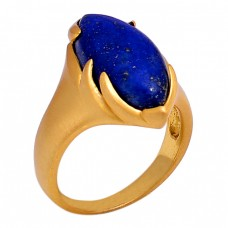 Oval Shape Lapis Lazuli Gemstone 925 Sterling Silver Jewelry Gold Plated Ring