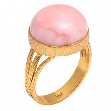 Round Shape Pink Opal Gemstone 925 Sterling Silver Jewelry Gold Plated Ring