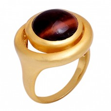 Round Shape Tiger Eye Gemstone 925 Sterling Silver Jewelry Gold Plated Ring