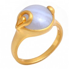 Blue Less Agate Round Shape Gemstone 925 Silver Jewelry Gold Plated Ring