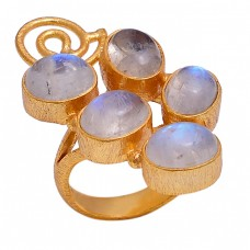 Rainbow Moonstone 925 Sterling Silver Jewelry Gold Plated Designer Ring