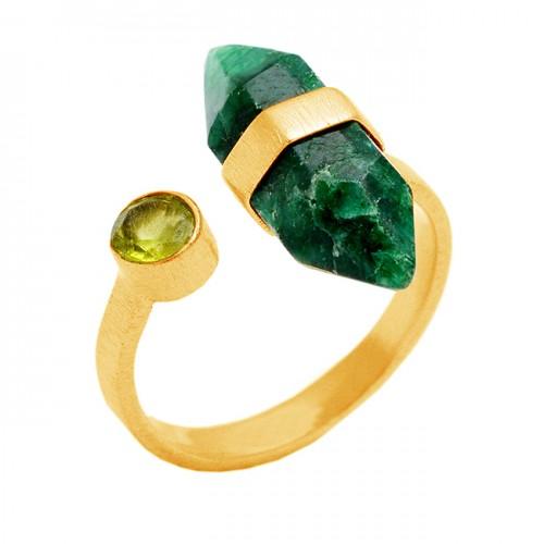 Emerald Peridot Gemstone 925 Sterling Silver Gold Plated Handmade Designer Ring