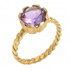 Round Shape Amethyst Gemstone 925 Sterling Silver Jewelry Gold Plated Ring