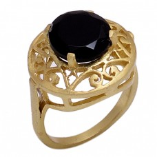 Round Shape Black Onyx Gemstone 925 Sterling Silver Jewelry Gold Plated Ring