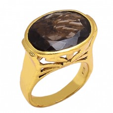 Faceted Oval Smoky Quartz Gemstone 925 Silver Jewelry Gold Plated Ring