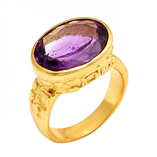 Oval Shape Amethyst Gemstone 925 Sterling Silver Jewelry Gold Plated Ring