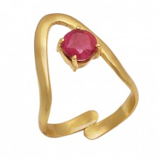 Faceted Round Shape Ruby Gemstone 925 Silver Jewelry Band Designer Ring