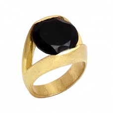 Oval Shape Black Onyx Gemstone 925 Sterling Silver Jewelry Gold Plated Ring