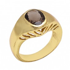 Oval Shape Smoky Quartz Gemstone 925 Sterling Silver Jewelry Gold Plated Ring