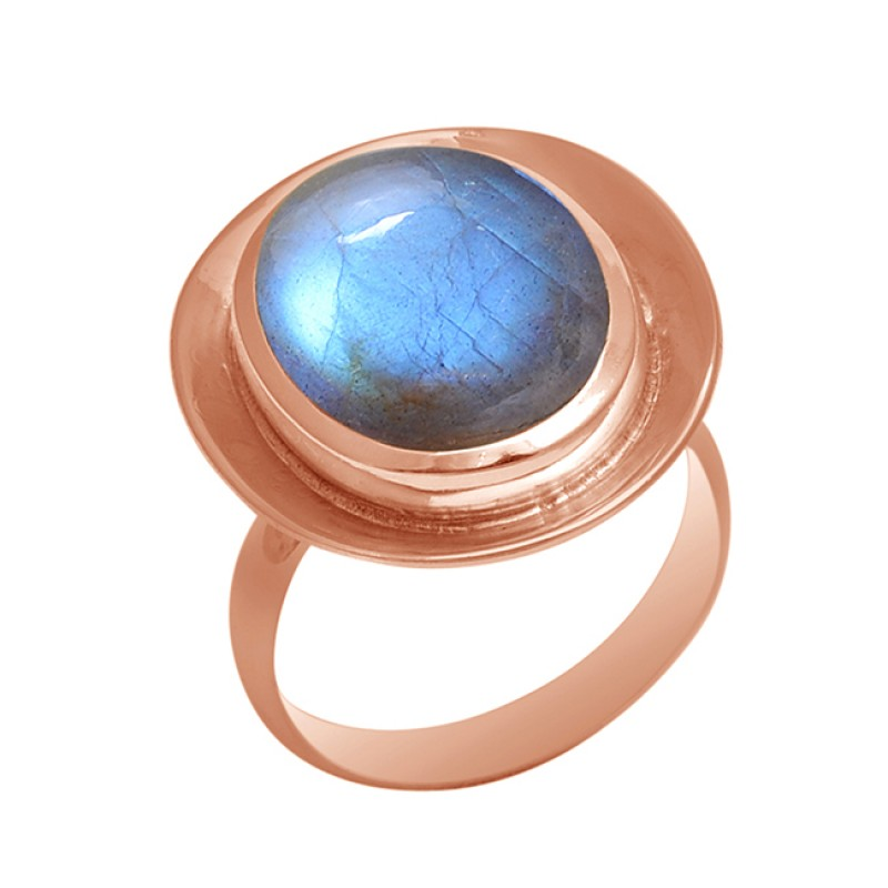 Cabochon Labradorite Gemstone 925 Sterling Silver Gold Plated Ring Jewelry