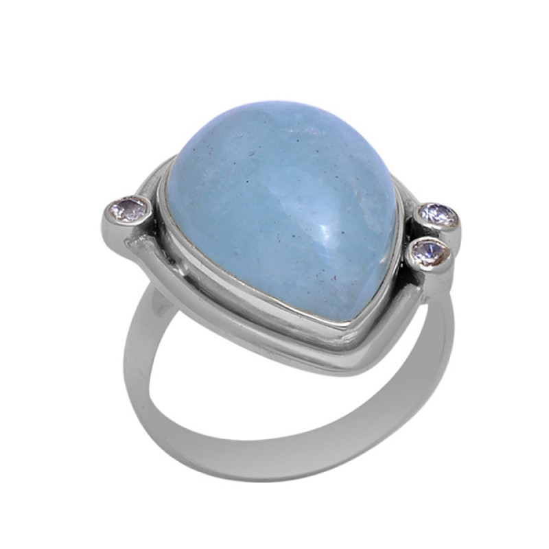 Aqua Chalcedony Gemstone 925 Sterling Silver Jewelry Gold Plated Ring
