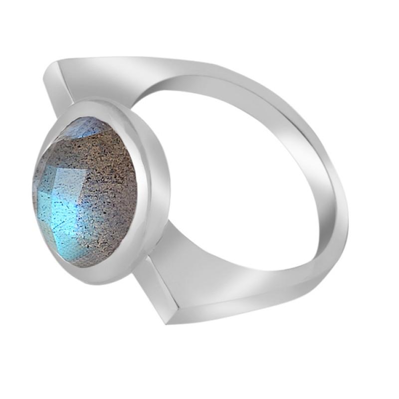 Briolette Oval Shape Labradorite Gemstone 925 Sterling Silver Jewellery Ring