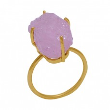 Rose Chalcedony Rough Gemstone 925 Sterling Silver Gold Plated Ring