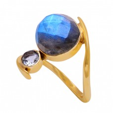 Labradorite Crystal Quartz Gemstone 925 Sterling Silver Gold Plated Ring