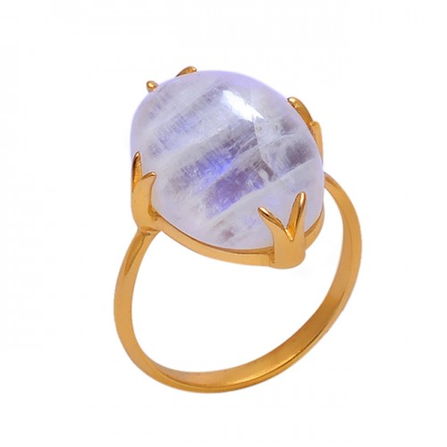 Oval Shape Moonstone 925 Sterling Silver Jewelry Gold Plated Ring