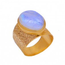 Oval Rainbow Moonstone Gold Plated 925 Sterling Silver Designer Ring