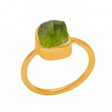 Peridot Rough Gemstone 925 Sterling Silver Gold Plated Handmade Ring